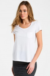 Lidyana Collection - Nola Cepli Beyaz Basic T-Shirt