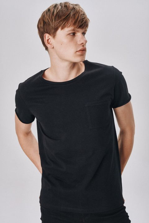 Allmur Cotton Wood Black Bisiklet Yaka T-shirt