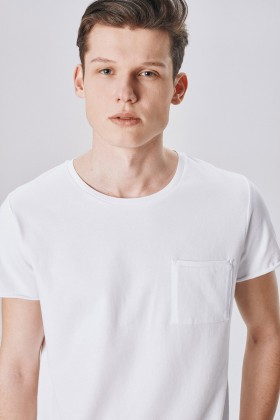 Allmur - Cotton Wood White Bisiklet Yaka T-shirt
