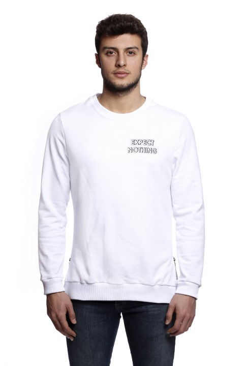 Tou Clothing Expect Nothing Beyaz Sweatshirt