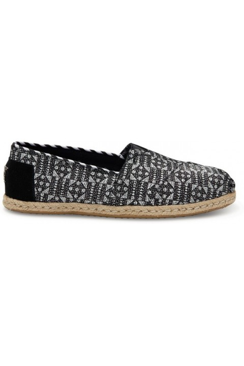 Toms Black White Suede Tiles Women Alpargata
