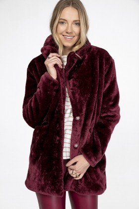 Lidyana Collection - Bordo Faux Fur Kaban