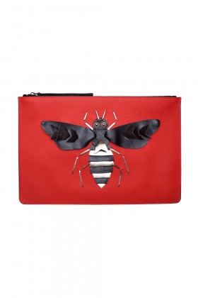 Catto & Catto - Edition Artistique Bee Kirmizi Bordo Deri Clutch