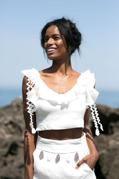 Betty & Sam Crothet Detailed Ruffled White Top