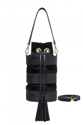 &333 - 3 Striped Accordion GuGu Bag - Two Tone Black