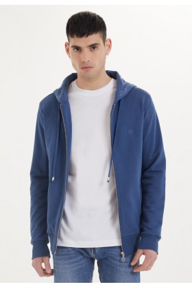 Westmark London - Essentials Zip Hoodie İn Dark Denim Lacivert Sweatshirt