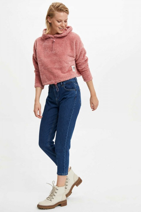 Defacto Kapüşonlu Regular Fit Peluş Sweatshirt