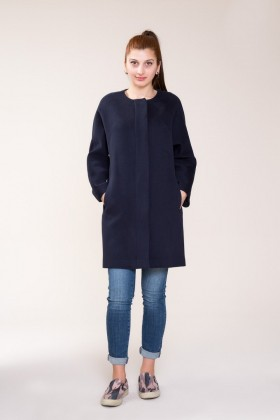 GIZIA - Navy Blue Stamp Coat