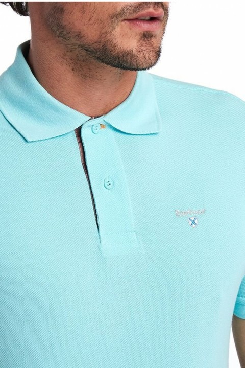 Barbour Barbour Tartan Pique Polo Shirt  Aqua Marine