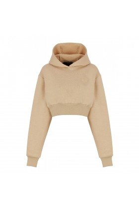 Fineapple - Bej Kapüşonlu Crop Sweatshirt
