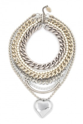 Aypen Accessories - Crystal Pearl Heart Chain Kolye