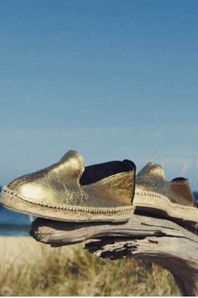 Manebi - Los Angeles Laminated Leather Gold Espadril