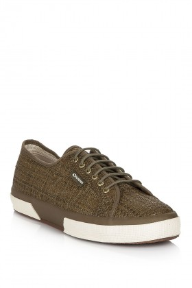 Superga - 2750-BRAIDEDSYNLEARAFFIAW DK GREEN Superga