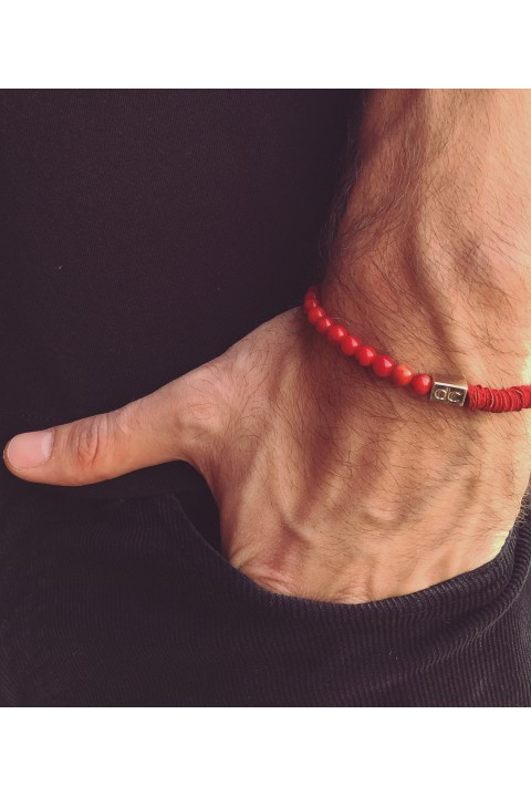 Delfince Red Leather and Stone Bileklik