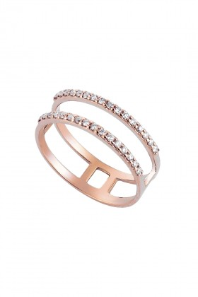 HerStory - Double Diamond Line Midi Ring Yüzük